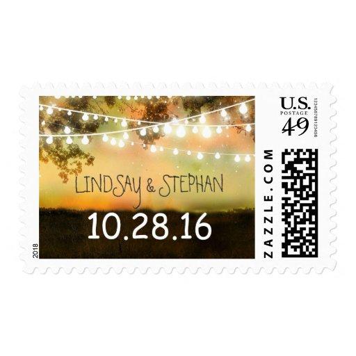 colorful night lights rustic wedding postage stamp