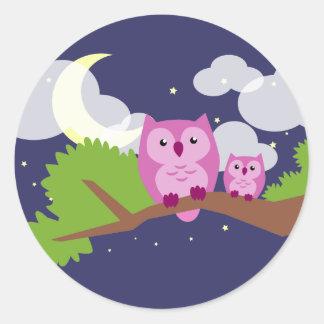 Colorful Night Owl Classic Round Sticker