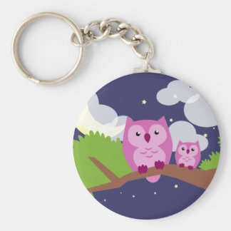 Colorful Night Owl Basic Round Button Keychain