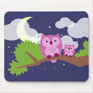 Colorful Night Owl Mouse Pad