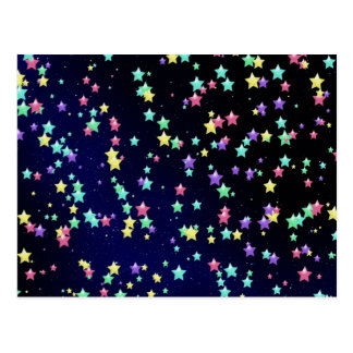 Colorful Night Stars Post Card