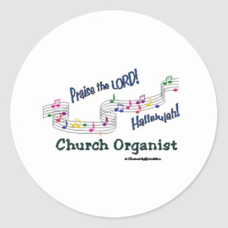 Colorful Notes Organist Classic Round Sticker