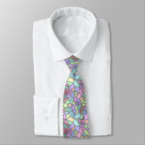 Colorful Nouveau Deco Stained Glass Pattern Tie