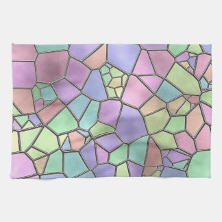 Colorful Nouveau Deco Stained Glass Pattern Towels
