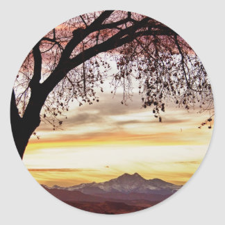 Colorful November Sunset Sky and Longs Peak Classic Round Sticker
