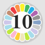 colorful number 10 sticker
