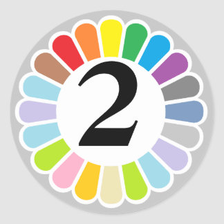 colorful number 2 sticker