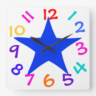 Colorful Numbers Big Blue Star Wall Clock For Kids