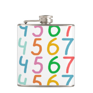 Colorful Numbers Pattern Hip Flask