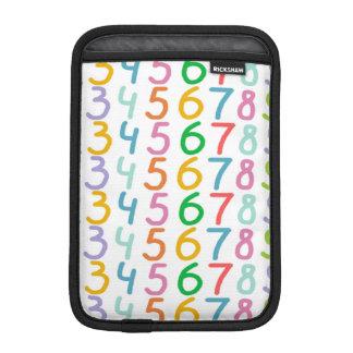 Colorful Numbers Pattern iPad Mini Sleeves