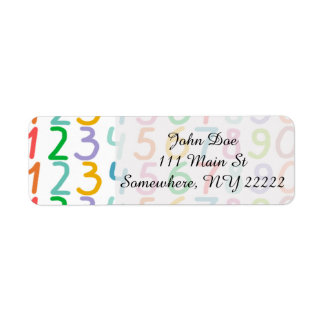 Colorful Numbers Pattern Label