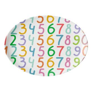 Colorful Numbers Pattern Porcelain Serving Platter