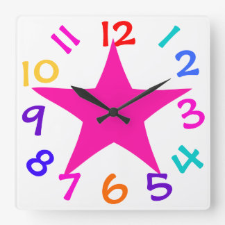 Colorful Numbers Pretty Pink Star Kids Clock