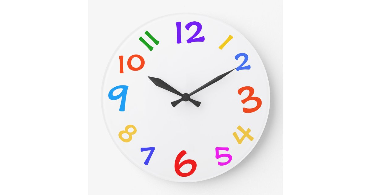Colorful Numbers Template Childs Room Wall Clock