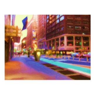 Colorful NYC Street Scene Post Card