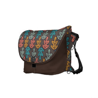 Colorful Oak Leaf Pattern Messenger Bag