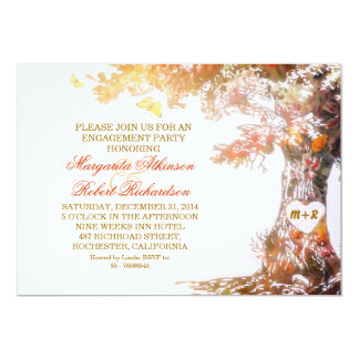 colorful oak tree engagement party invitations