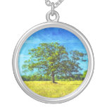 Colorful Oak Tree in a Field Art Round Pendant Necklace