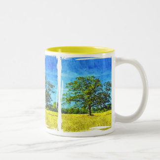 Colorful Oak Tree in a Field Art Two-Tone Coffee Mug