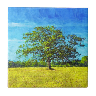 Colorful Oak Tree Painting for Family Celebration Ceramic Tile