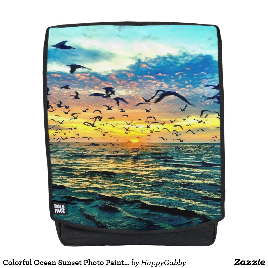 Ocean Sunset Photo Painting Backpack
