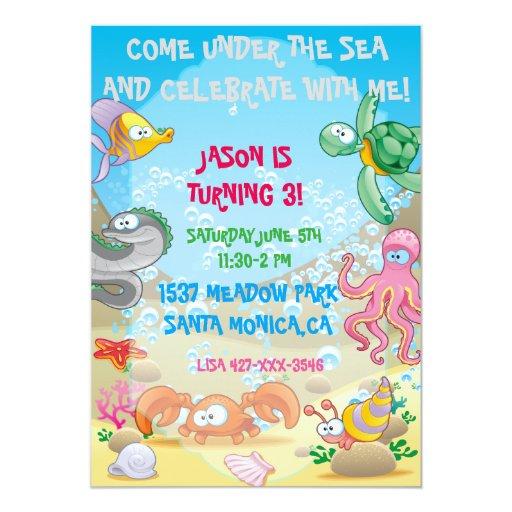 Colorful Ocean Under The Sea Birthday Invitation