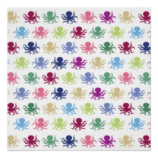 Colorful octopus pattern poster
