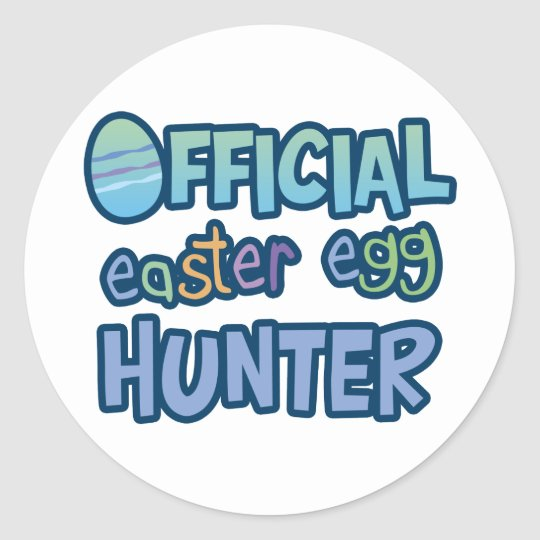 Colorful Official Easter Egg Hunter Classic Round Sticker