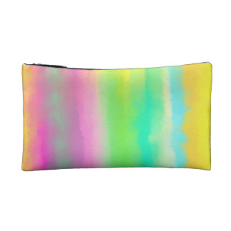 Colorful Oil Painting Abstract Art On Yellow Makeup Bag