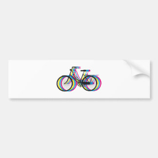 Colorful old bicycle silhouette, t-shirt design car bumper sticker
