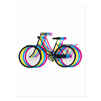 Colorful old bicycle silhouette, t-shirt design postcard