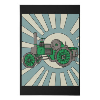 Colorful Old Retro Excavator Tractor Faux Canvas Print