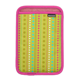 Colorful Olive Green Dotted Stripes Pattern iPad Mini Sleeve