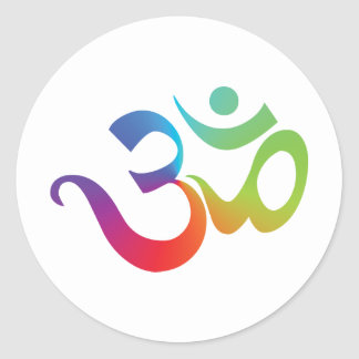 Colorful Om Classic Round Sticker