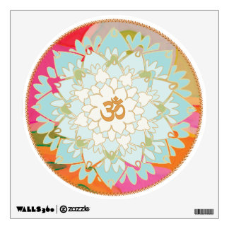 Colorful Om Lotus Flower Floral Wall Decal