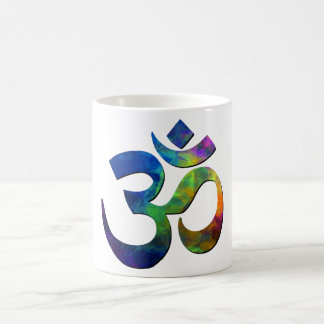 Colorful Om Yoga Symbols Classic White Coffee Mug