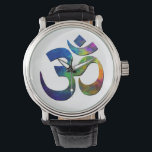 """Colorful Om Yoga Symbols Wristwatch<br><div class=""""desc"""">The &quot;Om&quot; symbol in Devanagari Om is the Original Sound. All sound,  all vibration,  is part of Om.  It is a mystic syllable,  considered the most sacred mantra.</div>"""