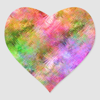 Colorful Opal Glassy Texture Heart Sticker