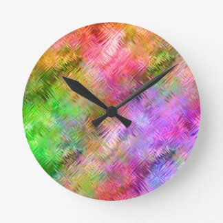 Colorful Opal Glassy Texture Round Clock