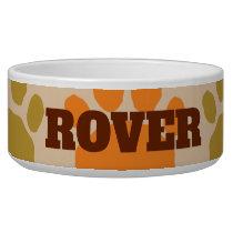 Colorful Orange and Brown  Animal Paw Print Bowl