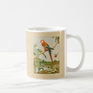 Colorful Orange and Brown Parrot on Bamboo Mugs