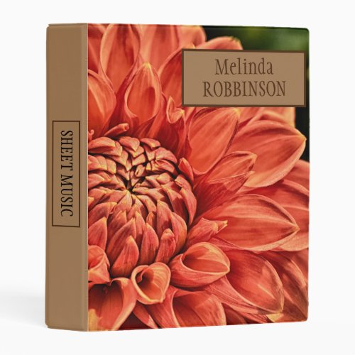 Colorful Orange Flower Personalized Sheet Music Mini Binder