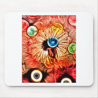 colorful orange glow artdeco dandelion mouse pad