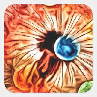 colorful orange glow artdeco dandelion square sticker