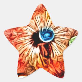 colorful orange glow artdeco dandelion star sticker
