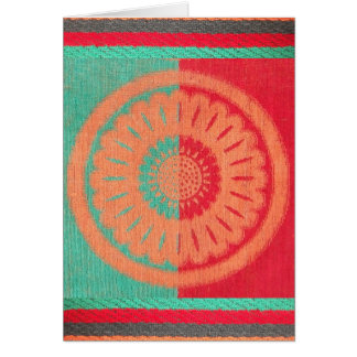 Colorful Orange, Green Red Beach Towel Greeting Card