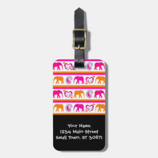 Colorful Orange Hot Pink Elephants Paisley Hearts Bag Tag