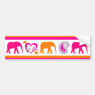 Colorful Orange Hot Pink Elephants Paisley Hearts Bumper Stickers