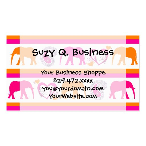 Colorful Orange Hot Pink Elephants Paisley Hearts Business Card Template