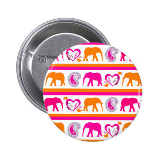 Colorful Orange Hot Pink Elephants Paisley Hearts Button